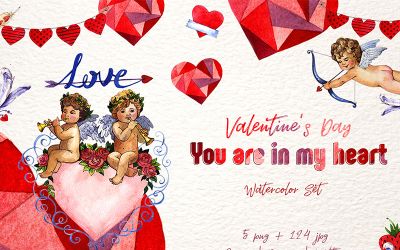 Valentines Day PNG Watercolor Set - Illustration
