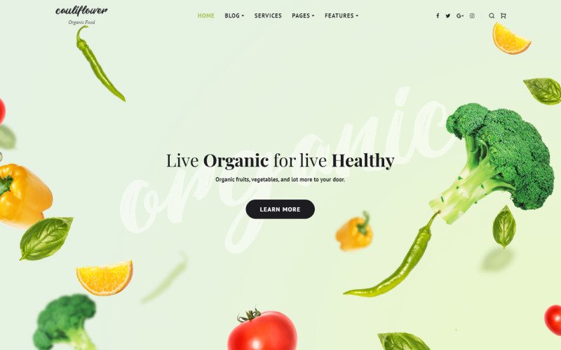 Cauliflower - Organic Food Blog WordPress Elementor Theme
