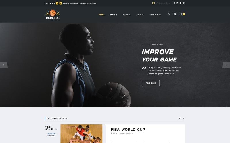 Draken - HTML5-websitesjabloon met meerdere pagina's van het basketbalteam