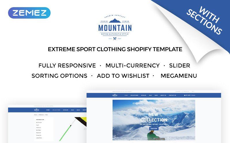 Mountain - Extreme Sport Clothing Store Shopify Theme