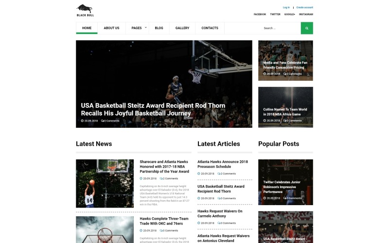 Black Bull - Laconic Sports News Joomla Template