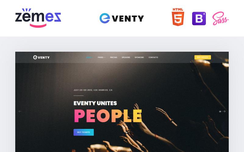 Eventy - Хороший многоцелевой HTML-шаблон веб-сайта для публичных мероприятий