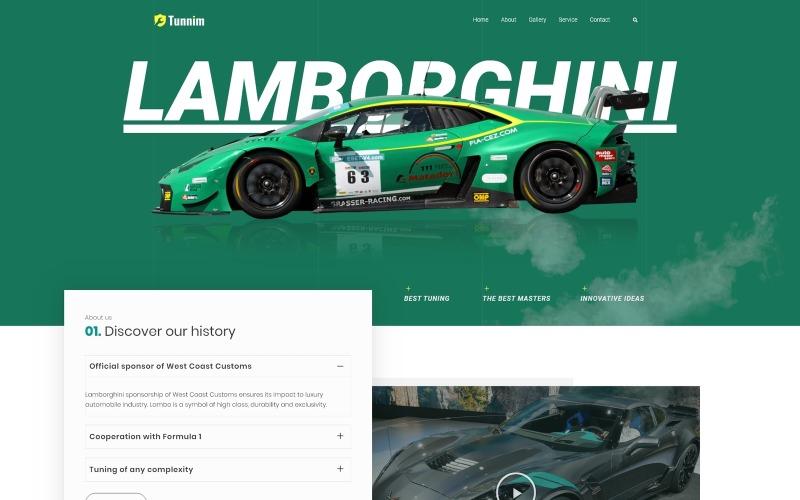 Tunnim - тема WordPress для тюнинга автомобилей Elementor