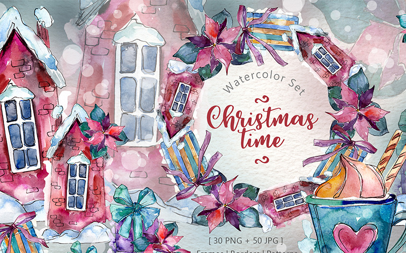 Christmas Time PNG Watercolor Set - Illustration