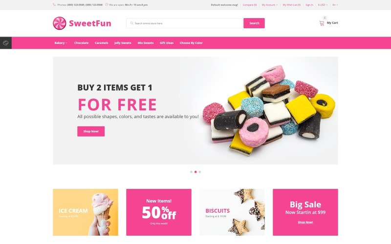 SweetFun - OpenCart шаблон интернет-магазина минималистичных сладостей
