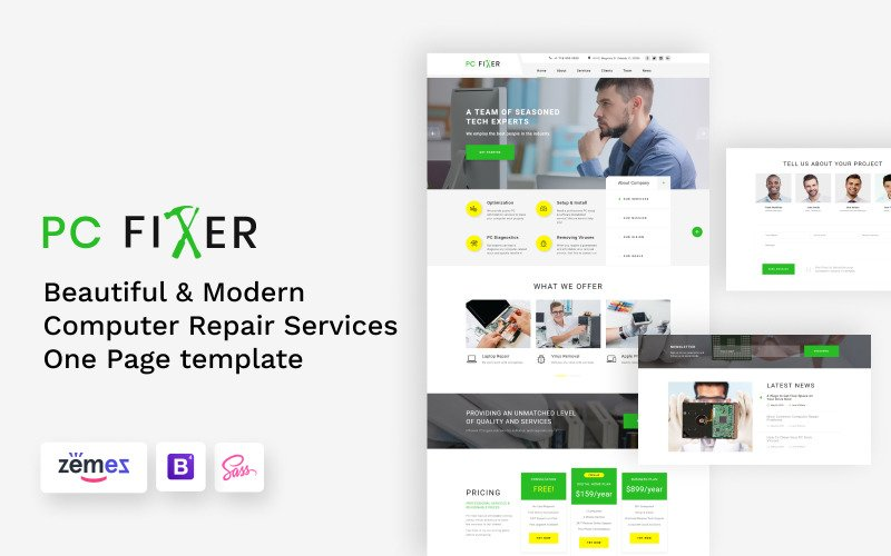 PC Fixer - HTML-шаблон целевой страницы для ремонта компьютеров