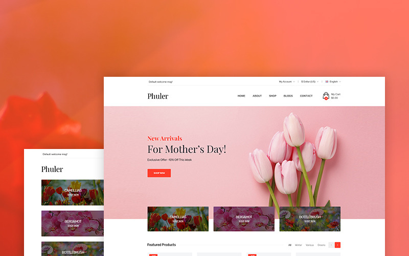 Phuler - тема WooCommerce для цветочного магазина