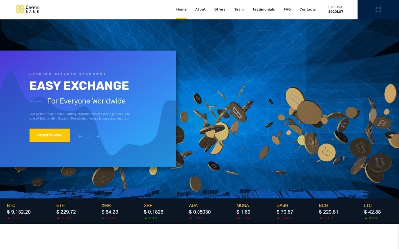 Crypto Bank - modelo de página de destino HTML para troca de criptomoeda