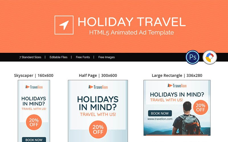 Тур и путешествия | Анимированный баннер с праздничной рекламой