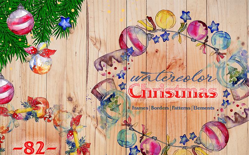 Christmas Balls Toy PNG Watercolor Set - Illustration
