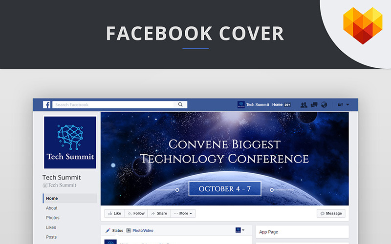 Conference Editable Timeline Cover For Facebook Social Media Template