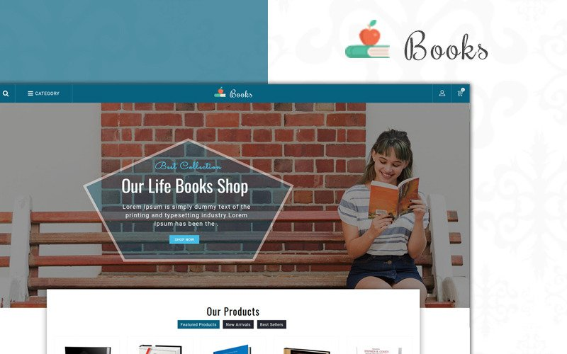 Магазин продаж книг PrestaShop Theme