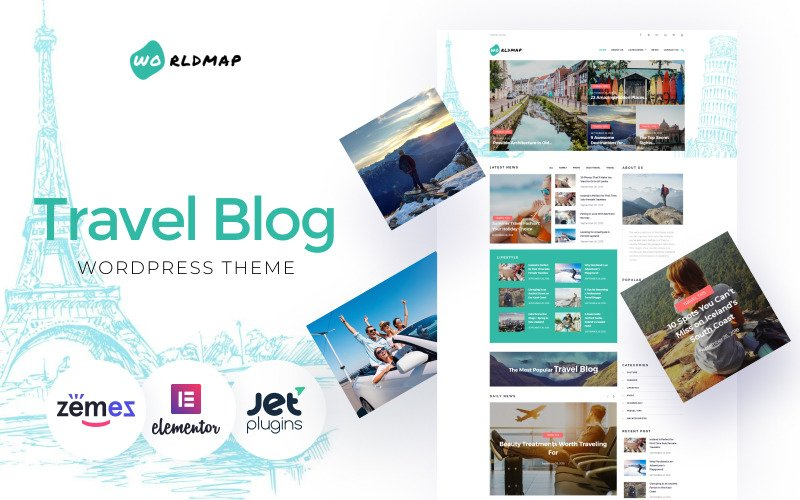 WorldMap - Travel Photo Blog WordPress Elementor Theme