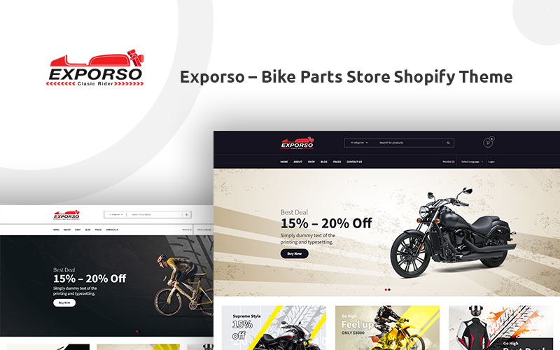 Exporso - Fahrradteile Shop Shopify Theme