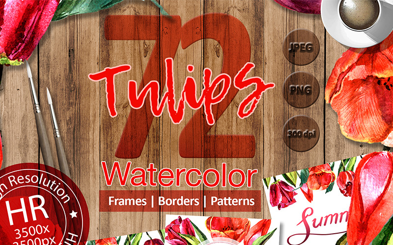 Stunning Red Tulips PNG Watercolor Set - Illustration