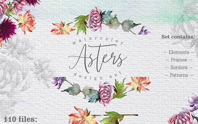 Watercolor Asters PNG Design Set - Illustration