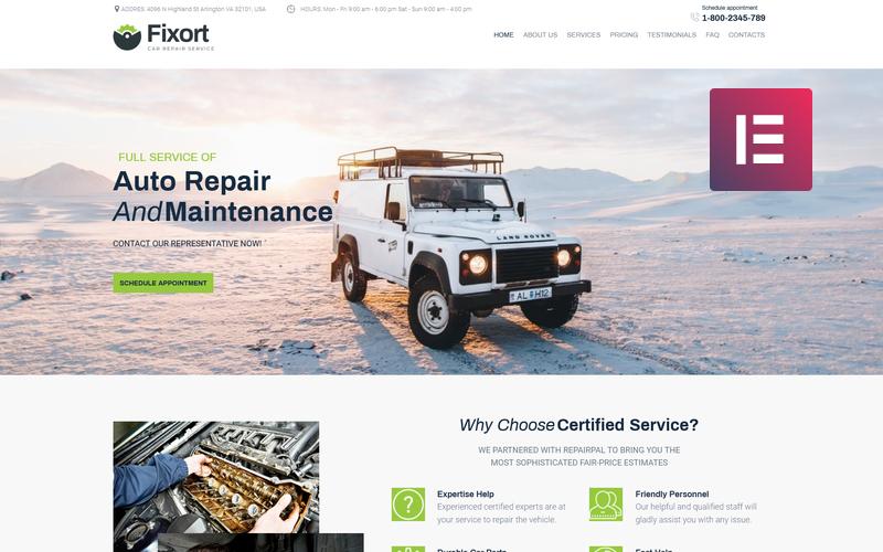 Fixort - тема WordPress для авторемонта Elementor