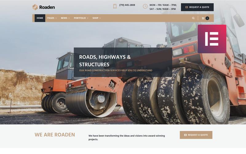 Roaden - Tema do elemento WordPress de construção de estradas