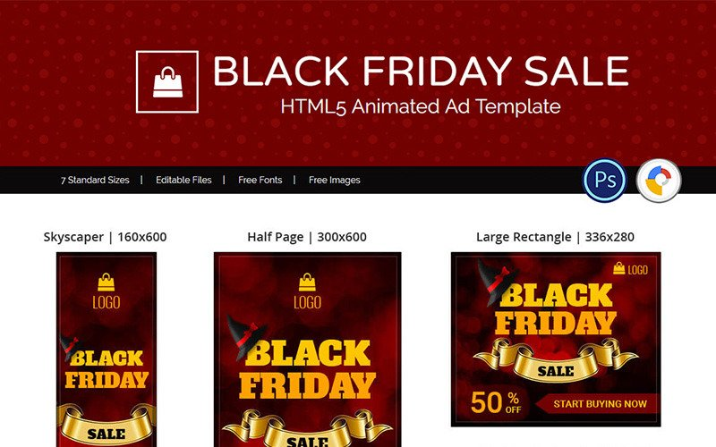 Shopping E Commerce Black Friday Sale Animated Banner 74129