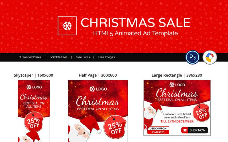 Shopping E Commerce Christmas Sale Ads Animated Banner 74128