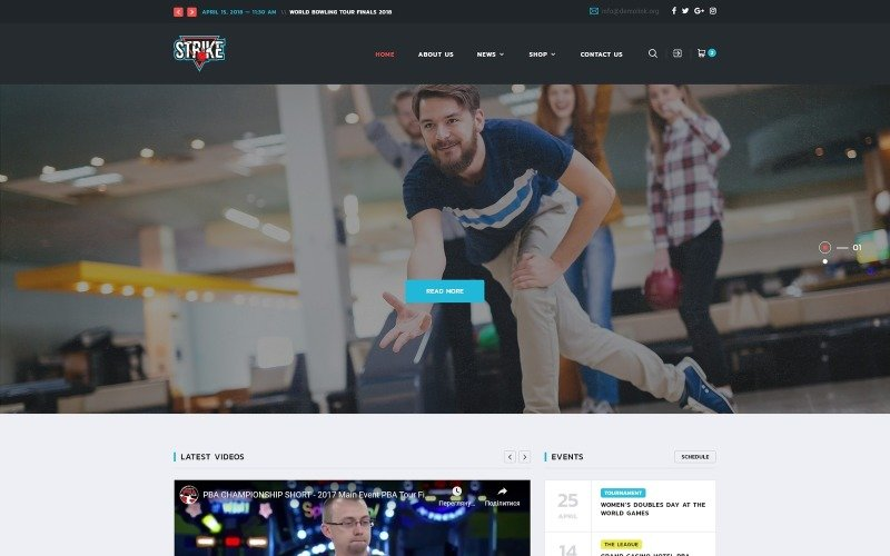 Strike - Bowling Multipage HTML Website Template