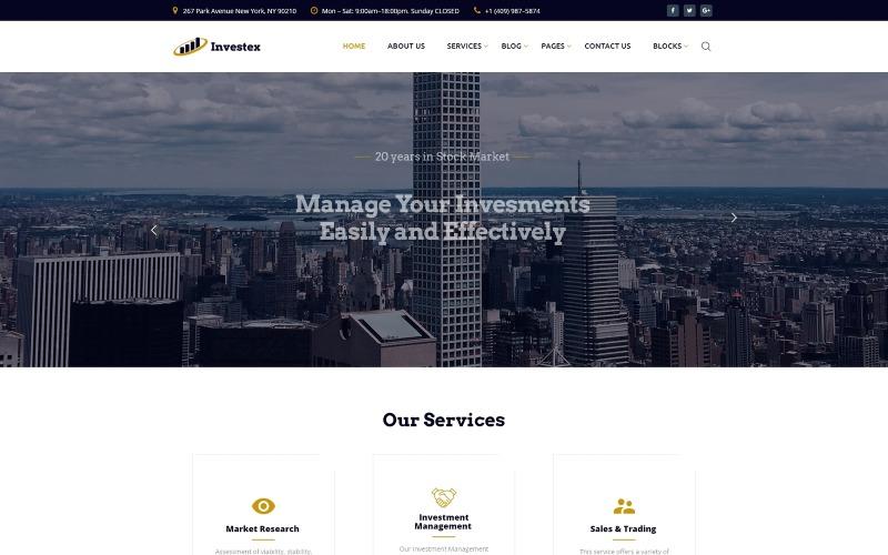 Investex - Modello di sito web pronto per l'uso di investimento