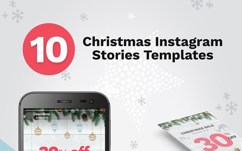 Plantilla de redes sociales de 10 banners de historias navideñas de Instagram