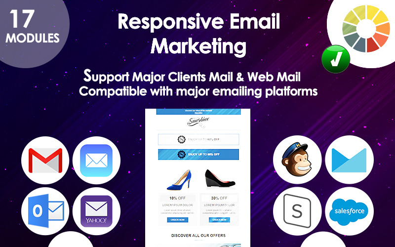E-mailové responzivní marketingové nabídky Šablona zpravodaje