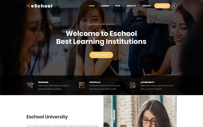 Eschool - Téma WordPress pro vzdělávání, univerzity a školy