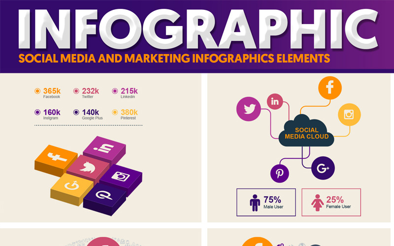 Infografía de paquete de elementos vectoriales de marketing y redes sociales