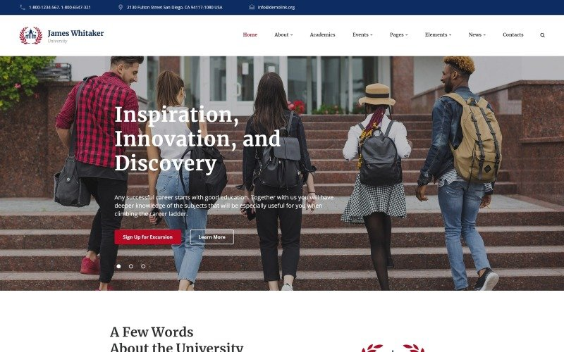 James Whitaker - University Ready-to-Use Website Template