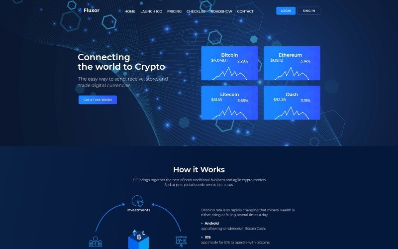 Fluxor - Crypcocurrency Investment WordPress Elementor Theme