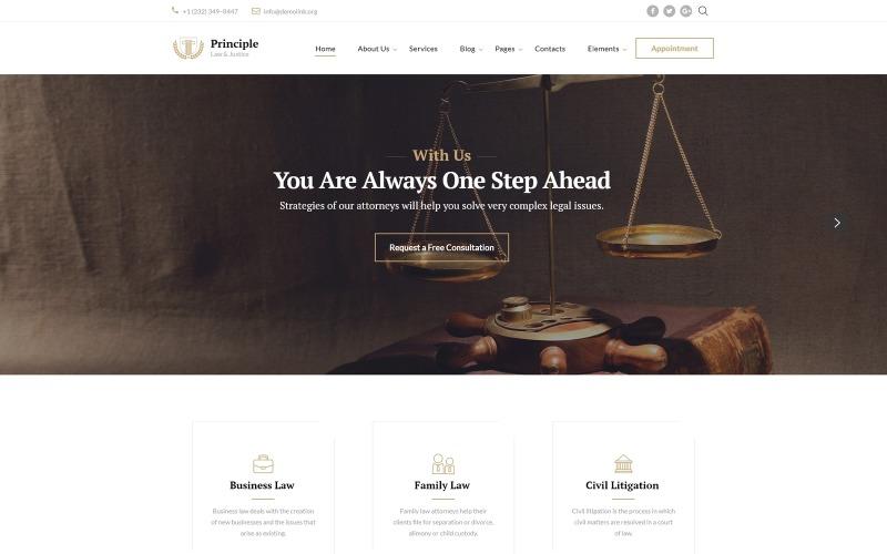 Prinzip - Gesetz Gebrauchsfertige Website-Vorlage