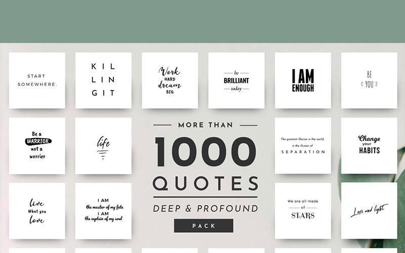 Modèle de médias sociaux de 1000 citations uniques et élégantes