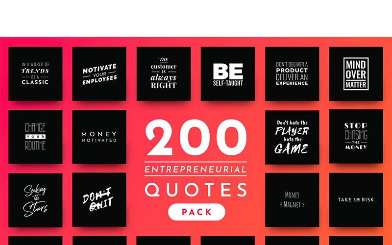 Modèle de médias sociaux de 200 citations entrepreneuriales prêtes à l'emploi
