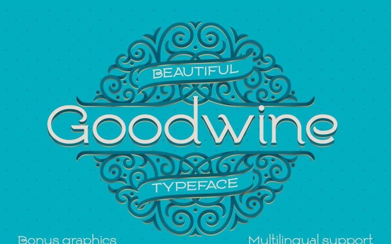 Goodwine, etykieta, makieta czcionki