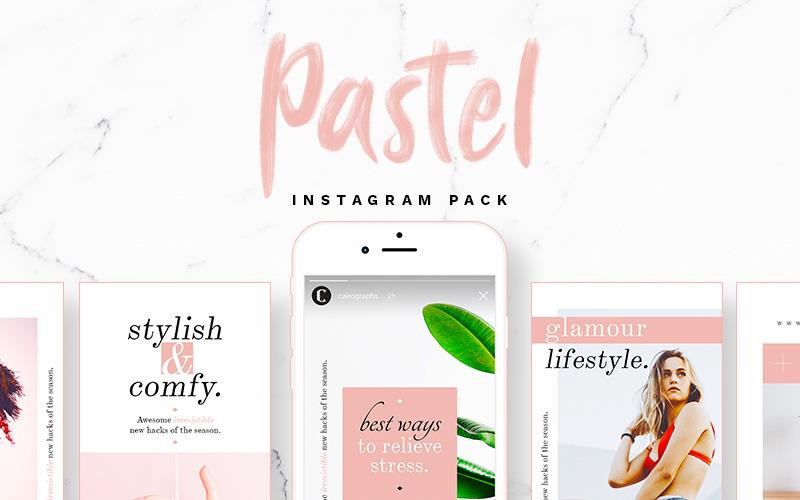 Pastel - Modèle d'histoires et de messages Instagram pour les médias sociaux