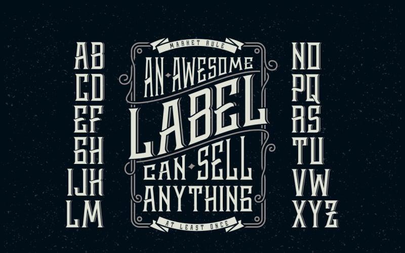 Etichetta di whisky + carattere di elementi di design