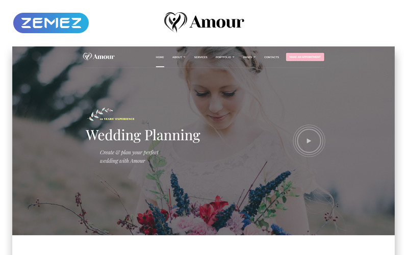 Amour - Plantilla de sitio web HTML de Bootstrap limpio de varias páginas para bodas