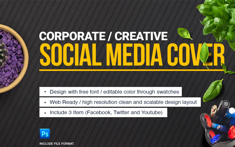 Cover Design (Facebook, Twitter and YouTube) Social Media Template