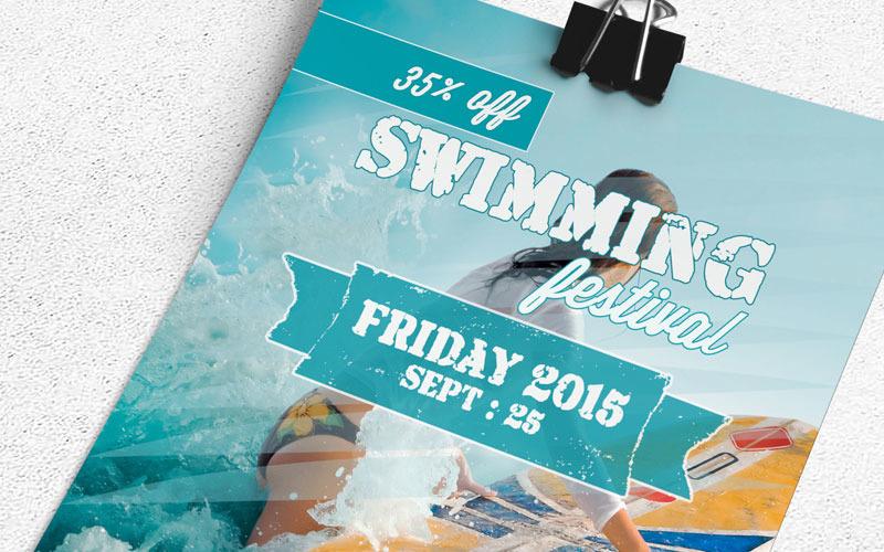 Флаер фестиваля плавания - шаблон фирменного стиля