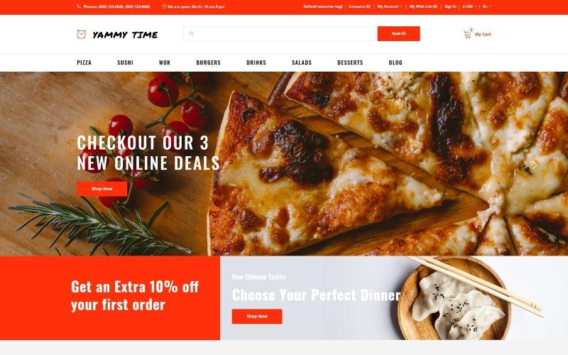 Yammy Time - Современный шаблон OpenCart для магазина доставки еды