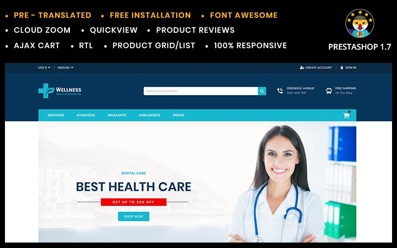 Wellness Medicine ans Sanitizer  Store PrestaShop Theme