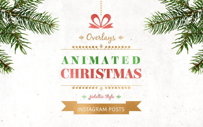 Анимированные рождественские посты - металлический шаблон для социальных сетей