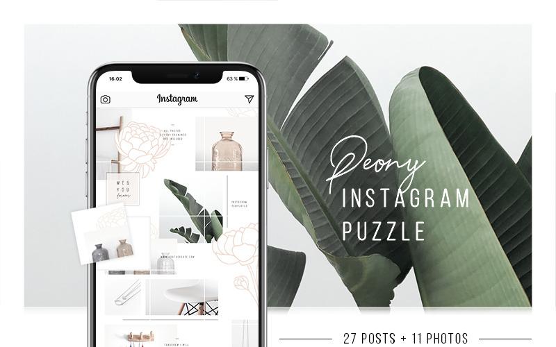 Пион Instagram Puzzle + 11 фото шаблон для социальных сетей