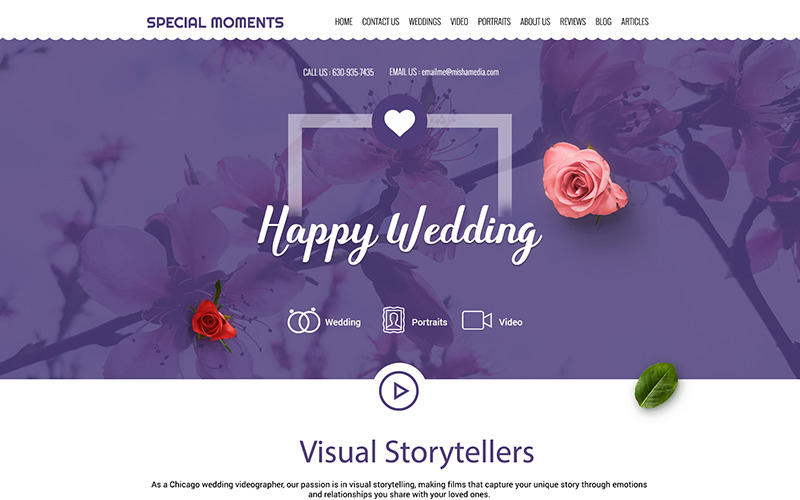 SpecialMoments - PSD šablona pro víceúčelové svatební fotografie