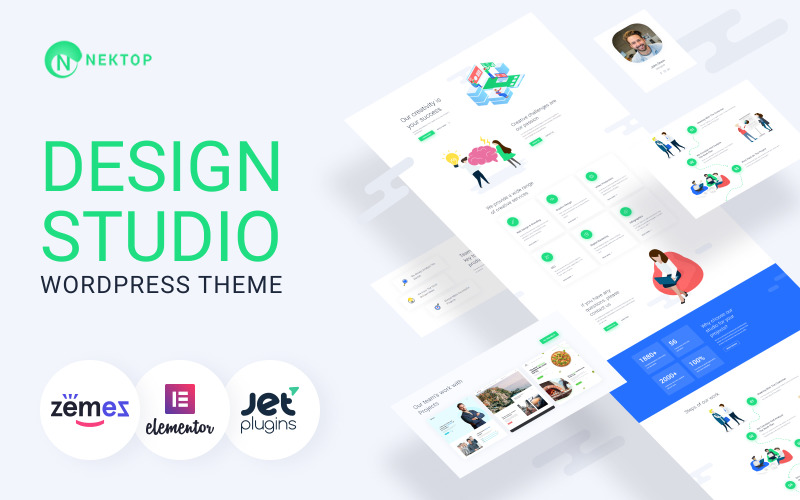 Nektop-Design Studio多用途创意WordPress Elementor主题