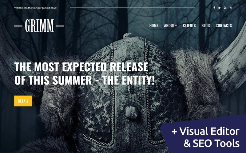 GRIMM - Game Development Studio Moto CMS 3 Template