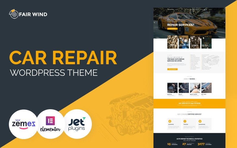 Fair Wind - Tema WordPress Elementor moderno para conserto de carros