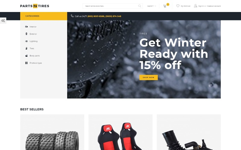 Parts'n'Tires - шаблон электронной коммерции для тюнинга автомобилей Magento